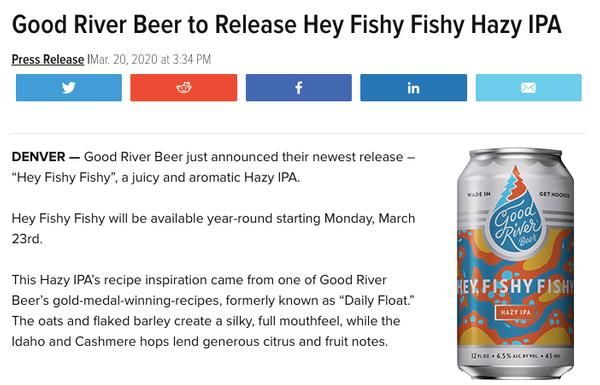 Good River Beer to Release Hey Fishy Fishy Hazy IPA